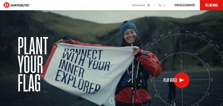 video background on Hurtigruten homepage
