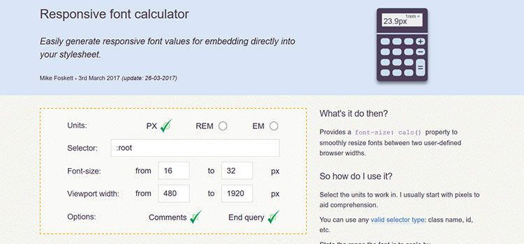 Responsive font calculator