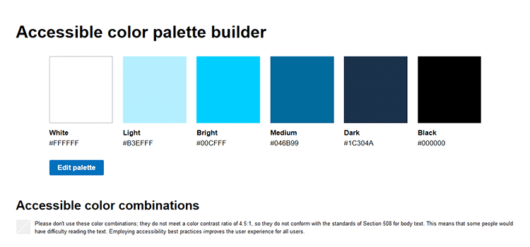 Accessible color palette builder