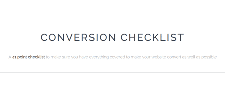 Conversion Checklist