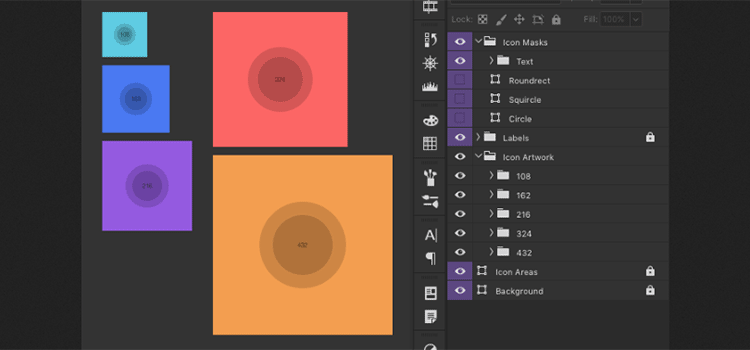 Android adaptive icon templates for Photoshop, Sketch, Illustrator, Affinity Designer