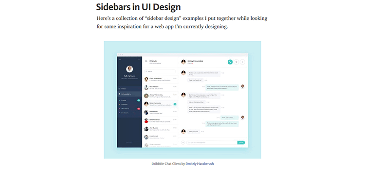 Sidebars in UI Design