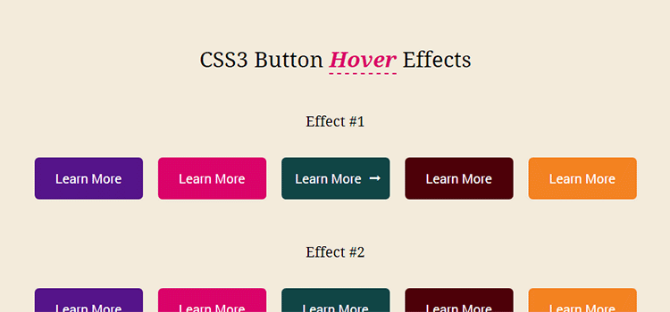 CSS3 Button Hover Effects with FontAwesome
