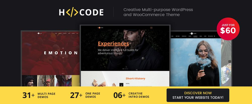 H-Code - Modern One-Page, Multi-Page, and Multi-Purpose WordPress Theme