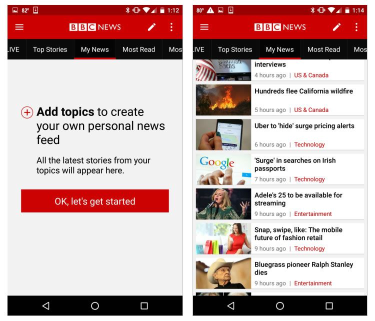 bbc news app customization