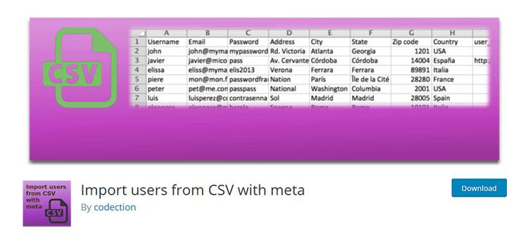 Import Users from CSV with Meta