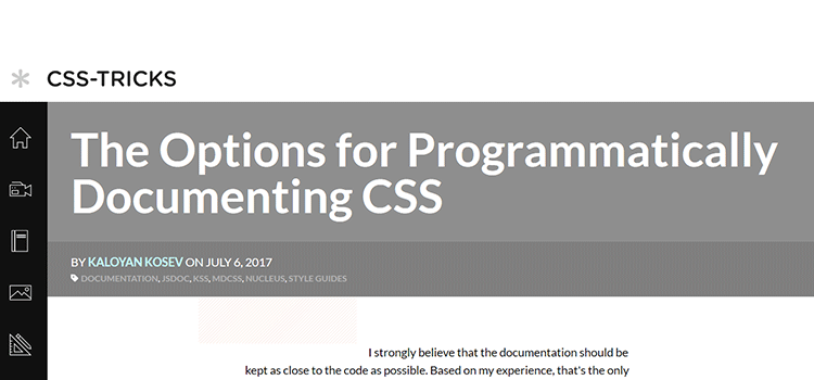 The Options for Programmatically Documenting CSS