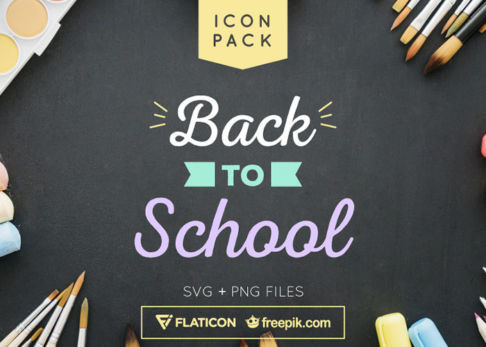 The Free Back to School Flat & Line Icon Set in SVG & PNG Formats