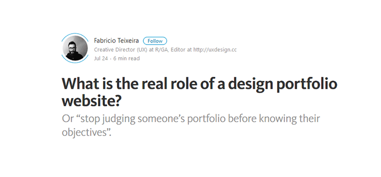 What is the real role of a design portfolio website?