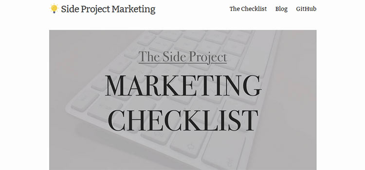 The Side Project Marketing Checklist