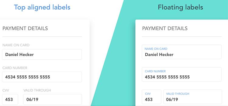 Float label pattern in UX form design