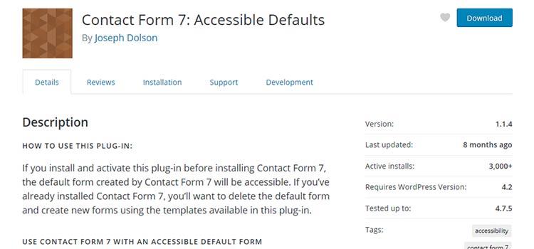 Formulaire de contact 7: Paramètres par défaut accessibles