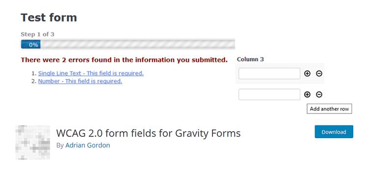 Champs de formulaire WCAG 2.0 pour les formes gravitaires