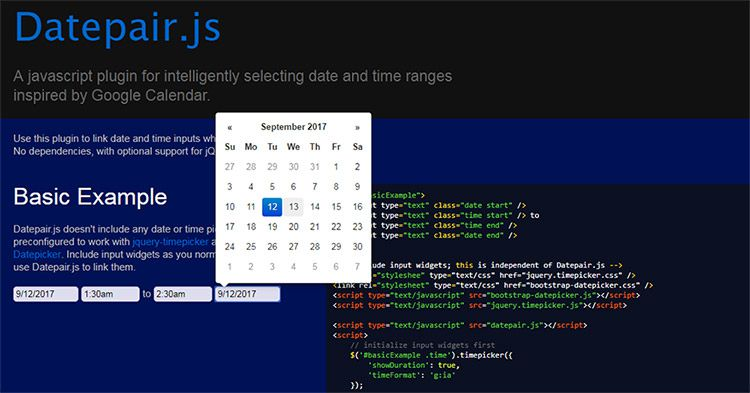 daterange js plugin