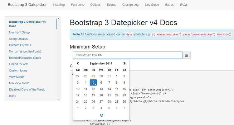 bootstrap datepicker plugin