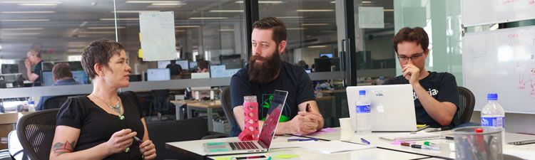 Liam Greig in a design feedback session at the Atlassian SF office