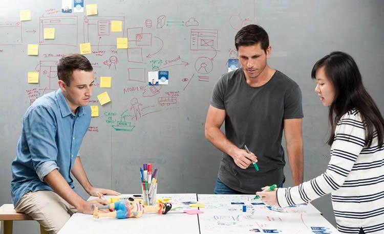 Whiteboarding session in Atlassian Sydney design space