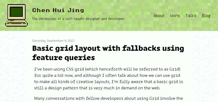 Basic grid layout with fallbacks using feature queries