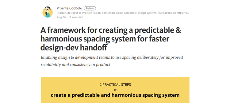 A framework for creating a predictable & harmonious spacing system for faster design-dev handoff