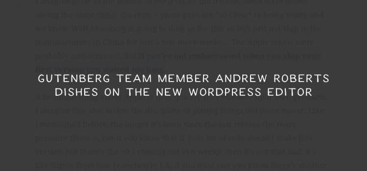 Gutenberg Team Member Andrew Roberts Dishes on the New WordPress Editor
