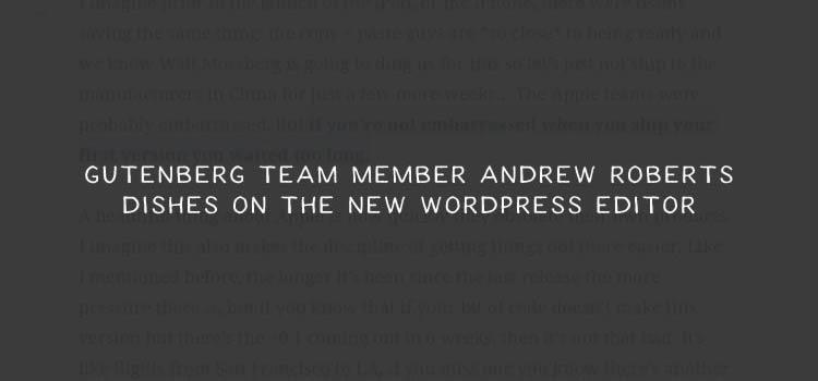 Gutenberg Team Member Andrew Roberts Dishes on the New WordPress Editor