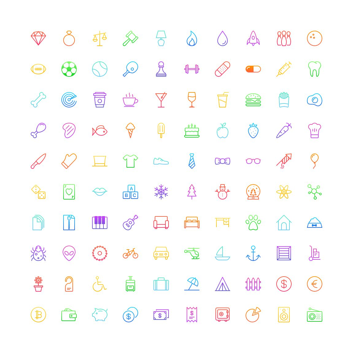Free Funkies gradient outline Icon Set png svg illustrator
