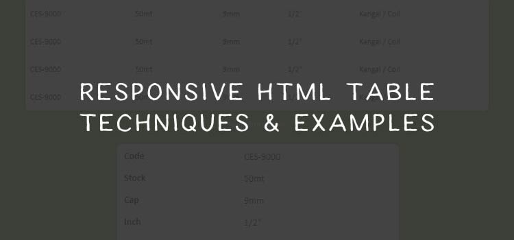 Responsive HTML Table Techniques & Examples