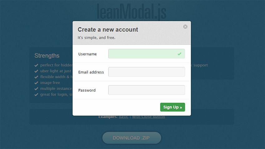 leanmodal.js script