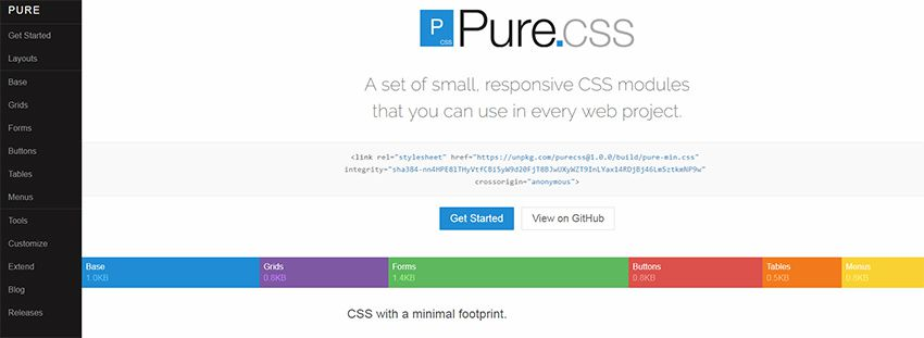 pure css framework The 10 Most Popular Open Source Front-End Web UI Kits - 06 pure css framework - The 10 Most Popular Open Source Front-End Web UI Kits