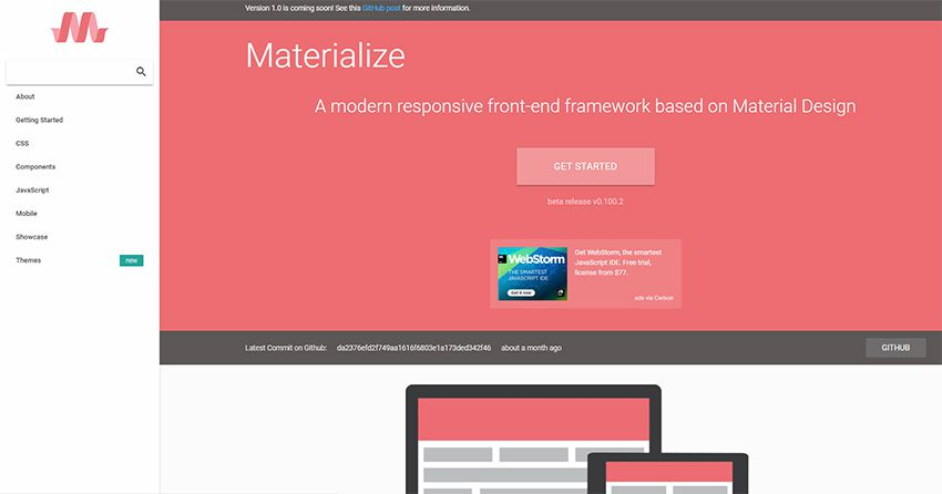 materialize.css homepage The 10 Most Popular Open Source Front-End Web UI Kits - 09 materialize css framework - The 10 Most Popular Open Source Front-End Web UI Kits