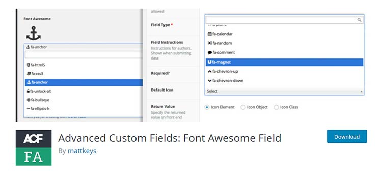 Advanced Custom Fields: Font Awesome Field