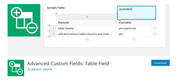 Advanced Custom Fields: Table Field