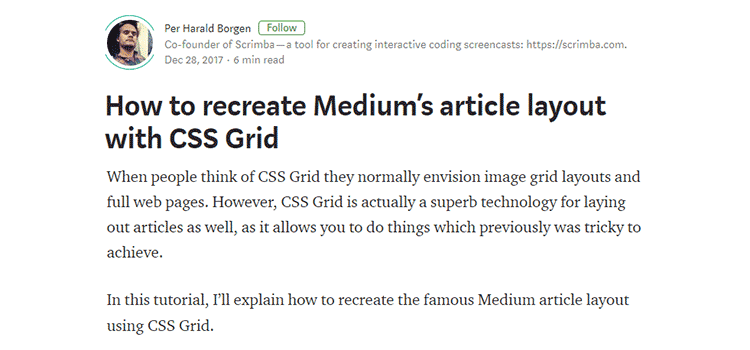 How to recreate Medium's article layout with CSS Grid