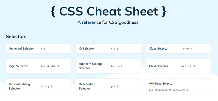 CSS Resources Free CSS Cheat Sheet