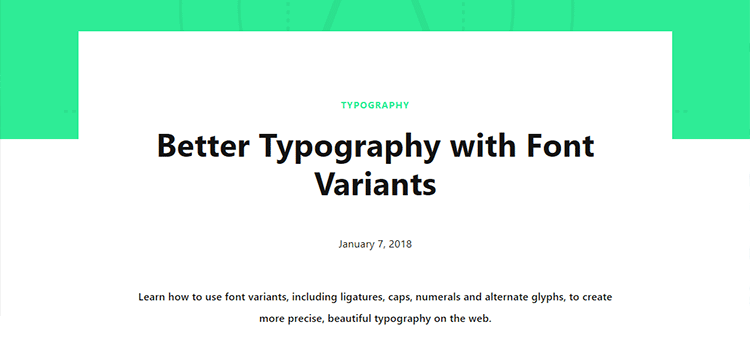 Better Typography with Font Variants