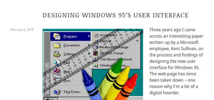 Designing Windows 95's User Interface