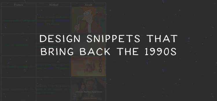 Nostaligic Code Snippets That Bring Back the 1990s