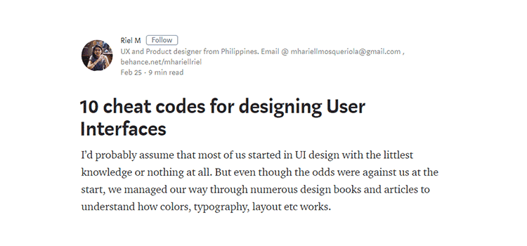 10 cheat codes for designing User Interfaces