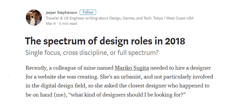 The spectrum of design roles in 2018
