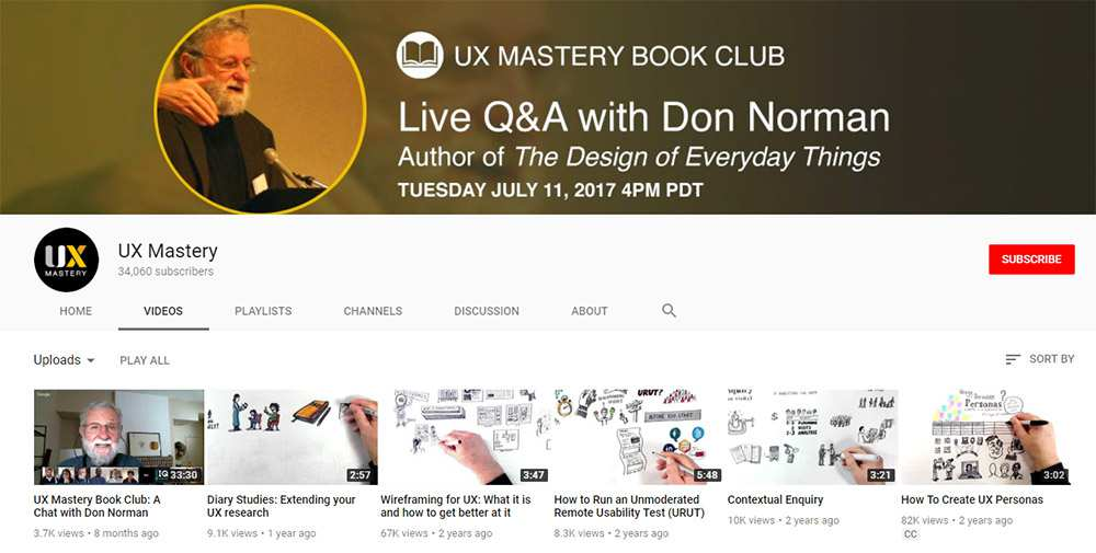 UXMastery YouTube channel