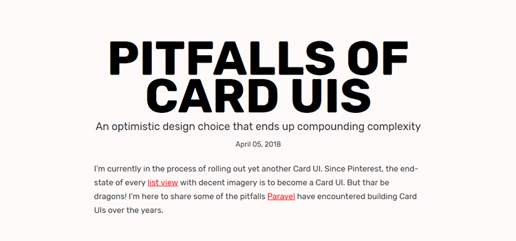 Pitfalls of Card UIs