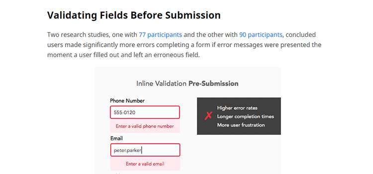 Why Users Make More Errors with Instant Inline Validation