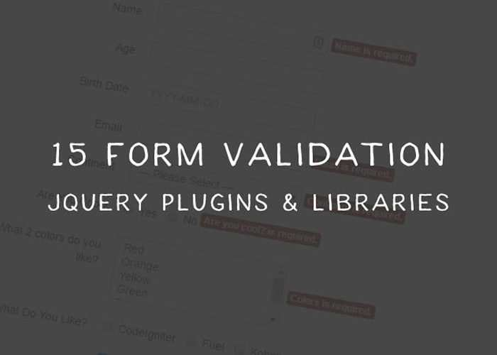 15 Form Validation jQuery Plugins and Libraries
