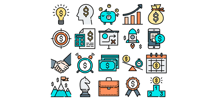 Free Line & Flat Business Icon Set
