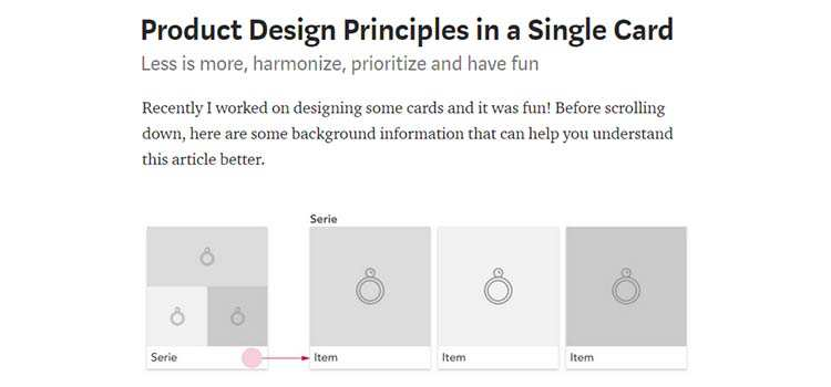 Product Design Principles in a Single Card