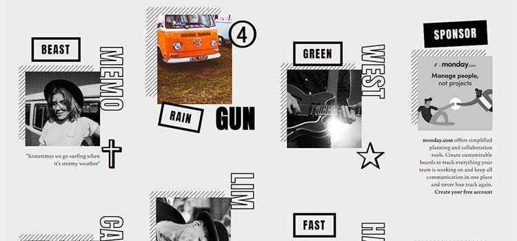 Grid Layout with Motion Hover Effect and Content Preview