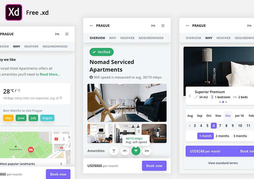 Free Mobile Booking Adobe XD UI Kit