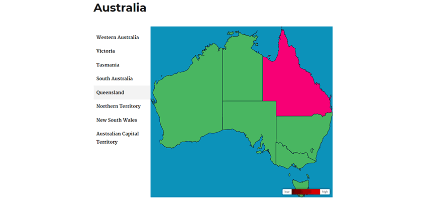 Map of Australia with directory feature.