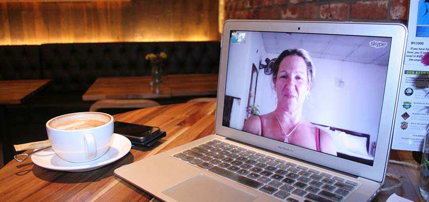 A Skype video chat.