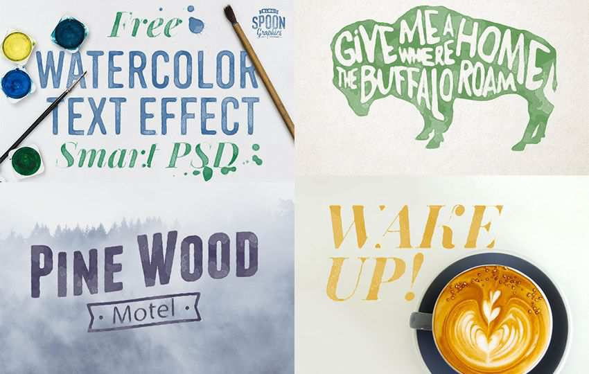 Free Photoshop Layer Styles PSD Watercolour Text Effect Smart
